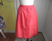 Vintage Coral Button Up Skirt, M/L