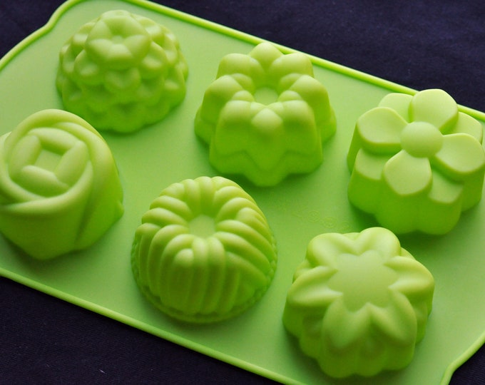 Classic Silicone Soap Molds Cake Pudding Muffin Chocolate Jelly - 6 Big Flowers