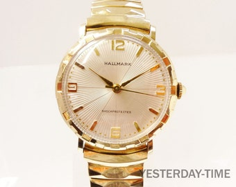 Hallmark Men's Watch 1950's with Starburst Dial Swiss 17 Jewel Manual Movement Gold Filled Case