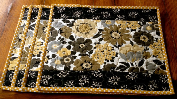 Black Yellow Beige Gray Floral Quilted Placemats Sold By