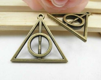 10pcs 32x32mm Antique Brass Harry Potter the Deathly Hallows Charm Connector Pendant