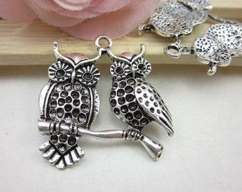 5pcs Vintage Style Antique Silver Two Dangle Owl Charms Pendants