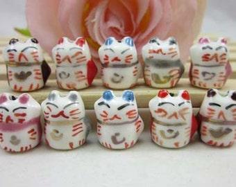 10pcs Cute Ceramics Lucky Cat Charm Porcelain Lucky Cat Charms Connector Pendant