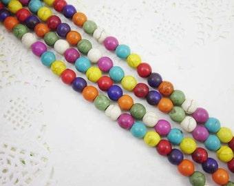 50pcs Full Strand Round Beads, Howlite, 8mm, Mix Color, Howlite Beads, Round Bead