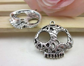 10pcs 27mm Antique Silver Sugar Skull Charm Pendant, Day Of The Dead
