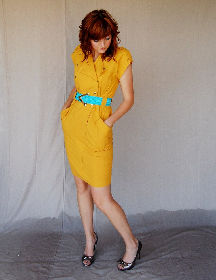 Mustard Yellow 80 S Dress With Military Style By Moviestarmoon
