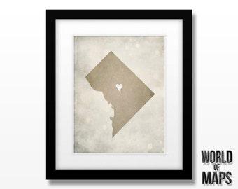 Washington DC Map Print - Home Town Love - Personalized Art Print