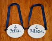 Mr and Mrs Wooden Hanging Wedding Signs, Nautical Anchor, Customize your colors and design