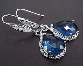Sterling Silver Rhinestone Earrings with Sapphire Blue Glass Pendants