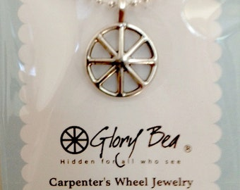 Carpenter's Wheel (Ichthus Wheel) Necklace by Glory Bea Jewelry.  Ichthus Jewelry: Christ's name hidden in a wheel.  Christian Jewelry
