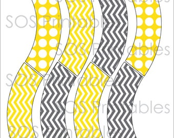 Gray and Yellow Mini Cupcake Wrapper - Printable PDF - Instant Download - Immediate Download