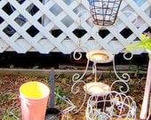 Garden Decor,  Vintage Tiered Plant Stand,Four Pieces, Golf Ball Bucket,   Wire Basket, Metal Plant Holder