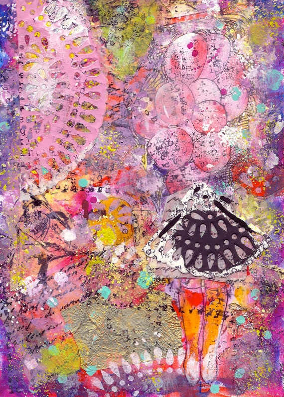 Modern Mix media painting collage and stitching with hand on paper with girl with pink balloons in yellow boots