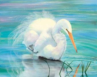 "12"" x 12"" Print of Snowy Egret"