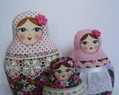 A Set of Soft Matryoshkas (matrioshkas) cloth Russian babushka dolls