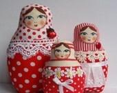 A Set of Red Polka Dots Soft Matryoshkas (cloth Russian babushka dolls)