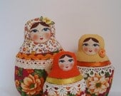 A Set of Orange Roses Soft Matryoshkas (cloth Russian babushka dolls)