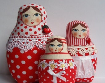 A Set of Red Polka Dots Soft Matryoshkas (cloth Russian babushka dolls)