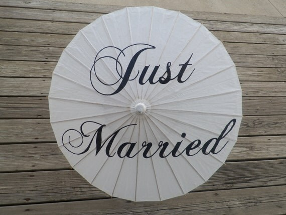 Personalized Wedding Just Married Parasol - Custom