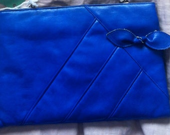 1980's Electric Blue Leather Bow Purse