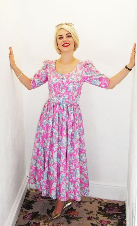 Pretty 1980s Laura Ashley Pink Floral Dress