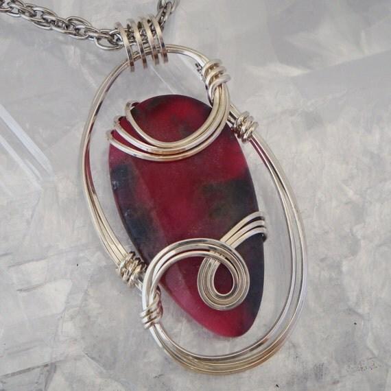 Rhodonite Pendant in Sterling Silver