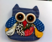 Mini Owl Zipper Owl Purse Wallet Blue