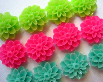 Magnet Set 12 pc Flower Magnets in Aqua, Lime Green, Hot Pink Neodymium Magnets, Housewarming Gifts, Hostess Gifts, Wedding Favors