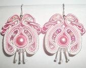 OOAK Soutache Jewelry Earrings TENDERNESS Pink White