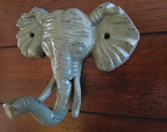 Elephant Wall Hook / Cast Iron Elephant Wall Decor / Sage Green or Pick Color / Safari Decor / Hook for Kids / Hanger for Children Bathroom