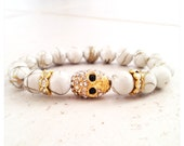 SALE 3 for 30 Mix and Match - Gold Drizzled White Bead Bracelet with Crystal Skull Charm and Rondelles