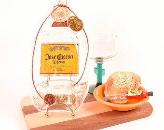 Jose Cuervo Bottle - Cheese & Cracker Tray w/ Spreader / Bar and Wall Decor / Melted / Slumped / Fused / Upcycled