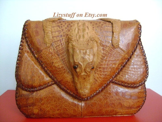 Unique Rare Vintage 1940s-1950s Era Full Body Genuine Hornback Crocodile Alligator Skin in Cognac Color Reptile Handbag/Purse/Made In Cuba