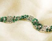 Multi-Strand Pewter and Ultramarine Green Glass Seed Bead Bracelet