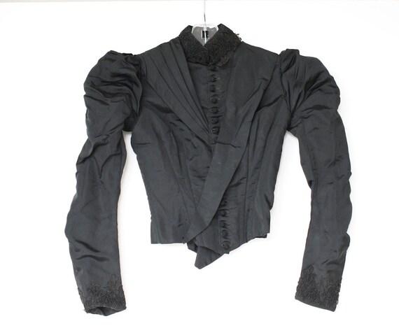 Victorian Jacket, Antique Black Mourning Jacket, 1800s, Silk Taffeta