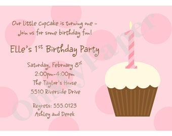 PINK or BLUE First Birthday Cupcake Invitations
