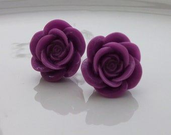 Large Lilac Rose Earrings