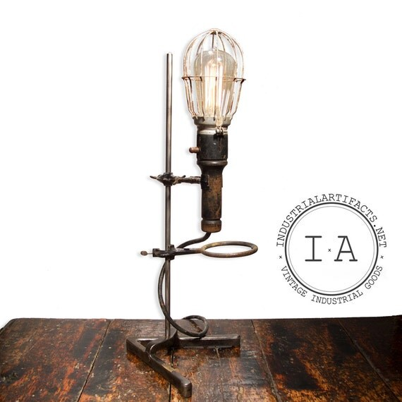 Industrial Light Stands: Vintage Industrial Scientific Lab Stand Trouble Lamp Fixture