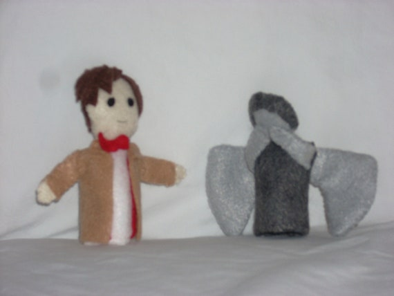 Eleventh Doctor and Weeping Angel Finger Puppets