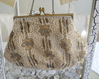 antique glass bead and rhinestone purse