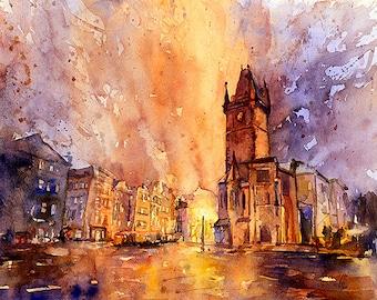 Fine art original watercolor and watercolor prints of medieval church in historic Prague at sunset- Czech Republic.  Watercolor art Prague