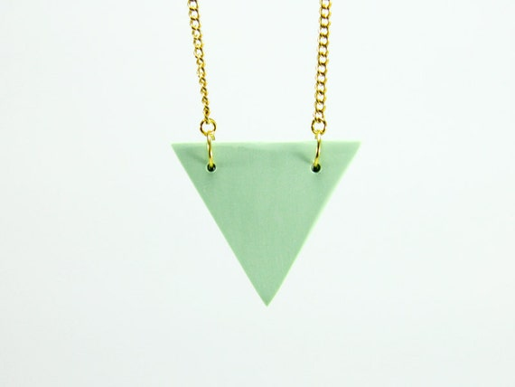 Triangle Necklace, Mint Green Triangle Necklace, Mint Green Necklace, Geometric Necklace, Mint Green Geometric Necklace, Triangle Jewelry