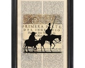 Don Quixote - Art Print on Vintage Dictionary Page 1930s