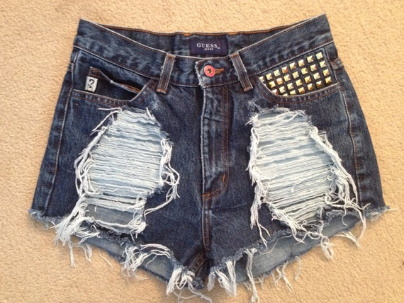 High waisted jean shorts - dark wash super destroyed