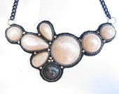 Pearl and Black Beaded Bib Statement Necklace - Light and Wearable