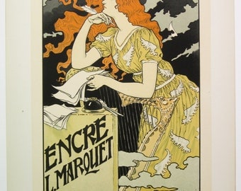 SOLD E. Grasset, Original Maitres de L'Affiche Poster, French 1899, Plate No.158, Ad for ENCRE MARQUET, the best of all inks.