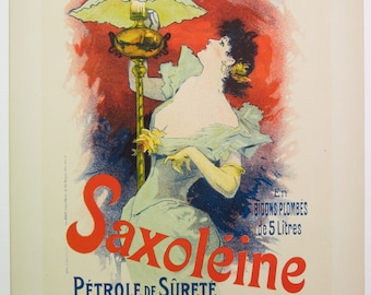 Jules Cheret, Original Maitres de L'Affiche, French 1899, Plate No.145. Ad for SAXOLEINE, A Safe Kerosene for Lamps.