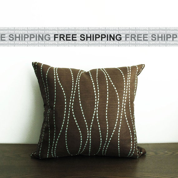 Dark Brown Throw Pillow : 16x16 Dark Brown/Blue Stripe Throw Pillow Cover by WildCanaryShop