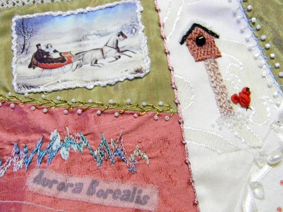 10 inch Crazy Quilt Hand Embroidery Christmas Holiday Winter block signed