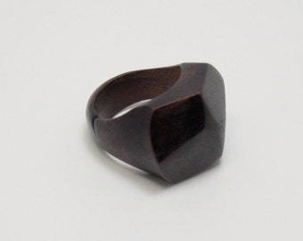 Natural Rich Walnut Wood Faceted Ring